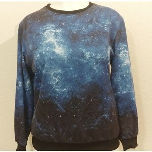 blue galaxy sweater with rib knit cuff and hem